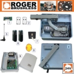 Roger Titan BR21/351 Brushless twin gate kit , 24V, intensive use, with digital encoder.  Internal open and close stops, Single bearings can carry up to 800kg.