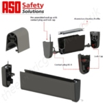 aso resistive gate safety edge ge f45st. sliding / hinged gate resistive safety edge - aso 8k2 (8.2kΩ) has a switching chamber with a 4mm gap integrated into the 45mm profile.
