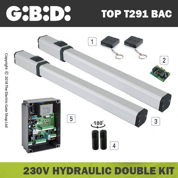gibidi top291 hydraulic 230v bac electric gate kit - double