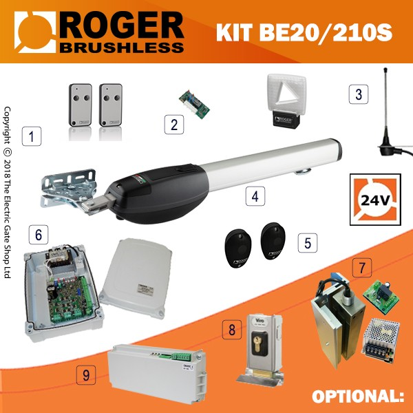 Roger Technology Be20 210s 24v Brushless Electric Gate Kit