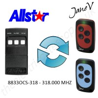 ALLSTAR Gate Remote 318.00MHZ, Replaced by Jane V Multi-frequency Remote.