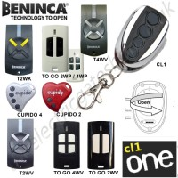 cl-one all for one remote, beninca cupido 2, cupido 4, t2wv, t2wk, t4wv, to go 2wv / 4wv gate key fob. the cl1 chrome replaces the remotes listed.
