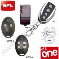 cl-one all for one remote, bft mitto 2, mitto 4, trc2, kleio gate key fob.  the cl1 chrome finished remote replaces the remotes listed, and features 1-4 button and easy change battery.