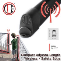 compact adjusta safety edge can easily be cut to any size, without the need to use glue or sealants.  a wirelesss radio transmitter is housed inside the edge,