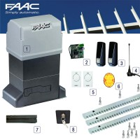 faac 844 uk gearmotor kit with control panel for siding gates upto 1800kg.  3m of steel rack included.