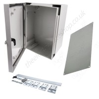 FIBOX CAB B professional enclosures, 8104304 400 x 300 x 170 or 8104305 500 x 400 x 230 complete with metal back plates.  A range of accessories are avialable.