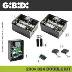gibidi 824 hydraulic 24v electric gate kit - double
