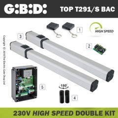 gibidi top291/s hydraulic 230v bac high speed electric gate kit - double