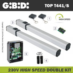 gibidi top441/s hydraulic 230v bac high speed electric gate kit - double