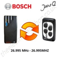 bosch gate remote 26.995mhz, replaced by jane q low-frequency remote.