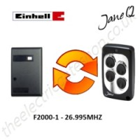 einhell gate remote 26.995mhz, replaced by jane q low-frequency remote.