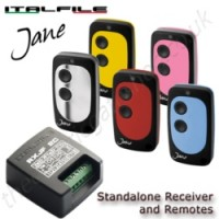 Universal standalone receiver kit and remotes by Italfile. Designed and made in Italy, the Jane remote and receiver pair together perfectly to open your gate or garage door.