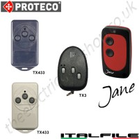 jane all for one remote, proteco tx3, tx433 gate key fob. the jane chrome finished remote replaces the remotes listed, and features 1-4 button and easy change battery.