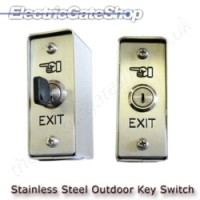 Key switch stainless steel with spring return for gate opening, or lock out to lock the system out.