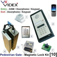 pedestrian security gate magnetic lock kit.  entry via gsm doorphone release / keypad, exit via doorphone release / internal keypad.