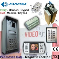 pedestrian security gate magnetic lock kit. entry via video door phone release / keypad, exit via door phone release / push button.