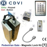 pedestrian security gate magnetic lock kit.  entry via keypad, exit via push button