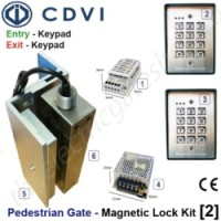 pedestrian security gate magnetic lock kit.  entry via keypad, exit via keypad.