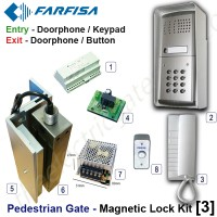 pedestrian security gate magnetic lock kit.  entry via doorphone release / keypad, exit via doorphone release / push button.