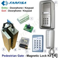 pedestrian security gate magnetic lock kit.  entry via doorphone release / keypad, exit via doorphone release / internal keypad.