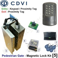pedestrian security gate magnetic lock kit.  entry via keypad / proximity tag, exit via proximity tag.