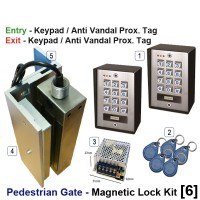 pedestrian security gate magnetic lock kit.  entry via anti vandal proximity tag, exit via proximity tag.