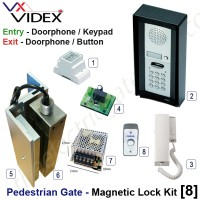 pedestrian security gate magnetic lock kit.  entry via doorphone release / keypad, exit via doorphone release / button
