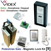 pedestrian security gate magnetic lock kit.  entry via doorphone release / keypad, exit via doorphone release / keypad.