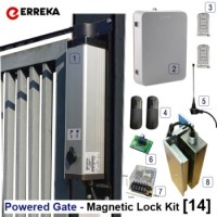 erreka ciclon powered pedestrian gate arm for small swing gates.  versatile for use on small gate posts or larger brick piers.  the kit includes a 300kg magnetic lock.
