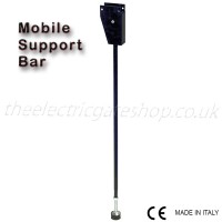 mobile support bar for a parking barrier, allowing the parking barrier to rest in place giving strength and position, yet lifts and folds out of the way with the barrier arm itself.