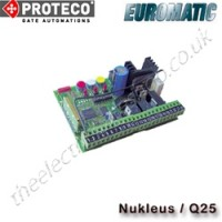 proteco / euromatic q25 control panel, also known as the nukleus. the proteco q25 is ideal for12v sliding gate installations on your proteco uk gate motors.