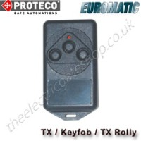 proteco / euromatic keyfob, also known as the tx or tx rolly. ideal for operating your proteco uk gate motors. miroctx 1/2/3 emc/2000/ist/018 cept/lpd i dgpgf/4/2/144/03/340796