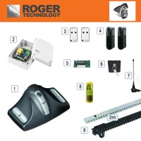 roger technology e30/800 sliding gate kit designed for use of gates weighing up to 800kg.