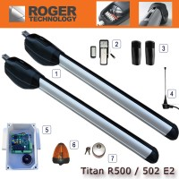 roger - titan r500/r502 commercial twin gate kit, for gate wings 3.5m - 5m.  features all steel gears and electronic limit switches for open and closed positions.