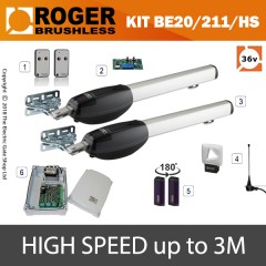 roger technology be20/210/hs 24v brushless electric gate kit - double