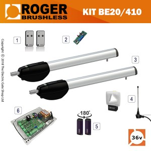 roger technology be20/410 36v brushless electric gate kit - double