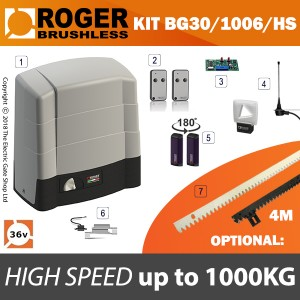 roger technology bg30/1006/hs 36v brushless electric sliding gate kit - 1000kg