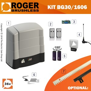 roger technology bg30/1604 36v brushless electric sliding gate kit 1600kg