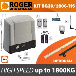 roger technology bg30/1806/hs 36v brushless electric sliding gate kit 1800kg