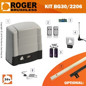 roger technology bg30/2206 36v brushless electric sliding gate kit 2200kg