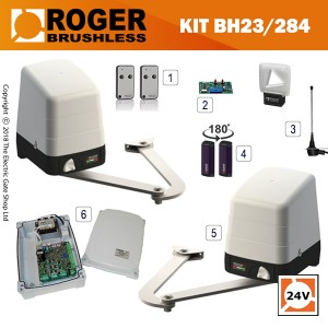 roger arm bh23 284 brushless articulated arm twin gate kit.  for up to 2.8m per wing, 24v, super intensive use, with digital encoder.