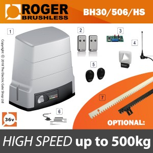 roger brushless bh30/504/hs sliding gate kit for gates weighing up to 500kg.