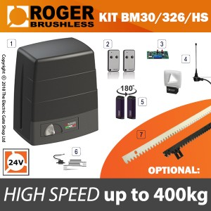 roger technology bm30/326 24v brushless electric sliding gate kit 400kg