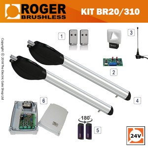 roger titan br20/300 brushless twin gate kit , 24v, super intensive use, with digital encoder.