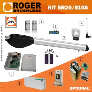 Roger Technology Titan BR20/500 Brushless single gate kit, 24V super intensive use, with digital encoder.