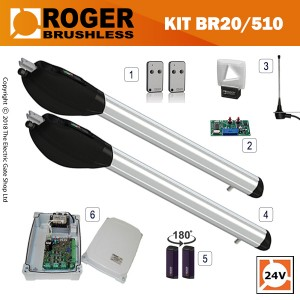 roger titan br20/500 brushless twin gate kit , 24v, super intensive use, with digital encoder.