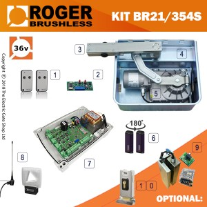 roger titan br21/354s brushless twin gate kit , 24v, super intensive use, with digital encoder.  heavy duty, twin bearings can carry up to 1000kg.  10m cable.