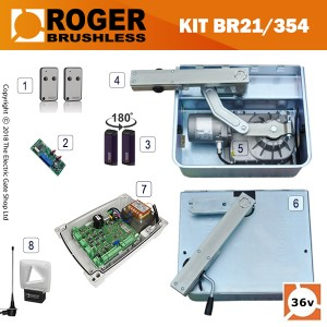 roger titan br21/362 brushless twin gate kit , 24v, super intensive use, with digital encoder.  heavy duty, twin bearings can carry up to 1000kg.  10m cable.