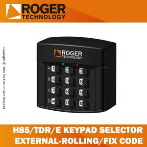roger technology h85/tdr/e keypad selector with 12 digit numbers, 4 channel for rolling code and fixed code transmission.
