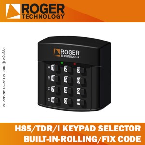 roger technology h85/tdr/i keypad selector with 12 digit numbers, built-in, for rolling code and fixed code transmission.